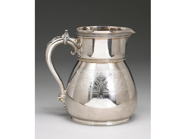Sterling Ivy Engraved Water Pitcher by Moore for Tiffany & Co.