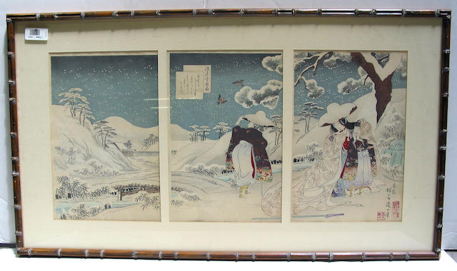 Utagawa school: sixteen woodblock prints in ten frames, including three triptychs and one column print