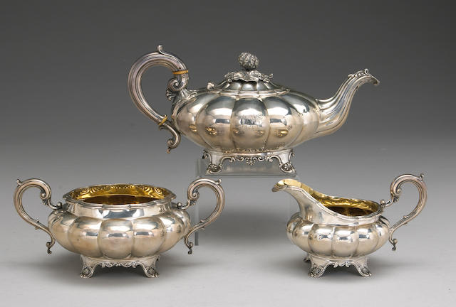 George IV/William IV Silver Assembled and Matching Three Piece Tea Set
