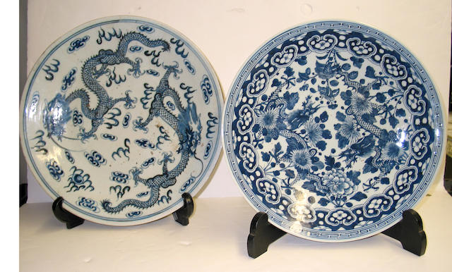 Three blue and white porcelain chargers