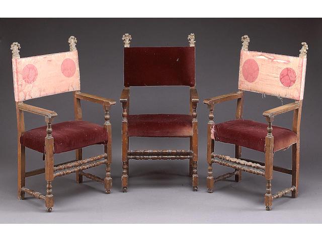 Three Spanish Baroque walnut armchairs
