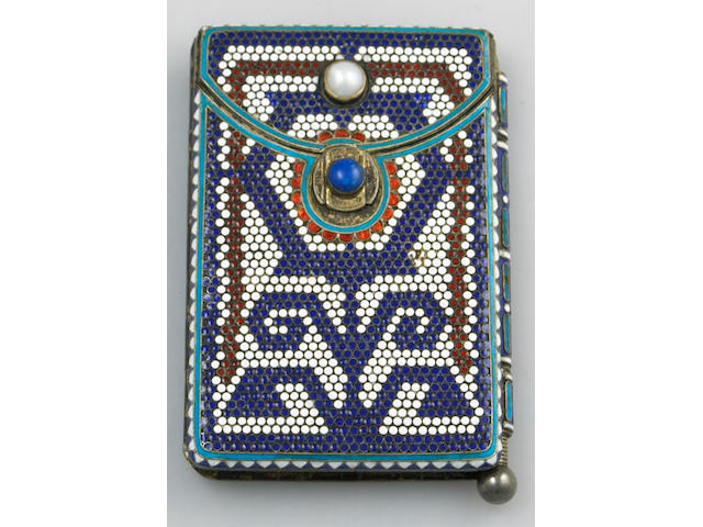 Russian Gilt 88 Standard Silver and Enamel Lady's Combination Card Case and Aide Memoire