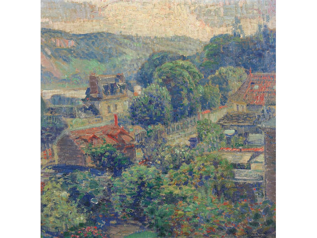 Joseph Kleitsch (1882-1931) A View of a French Village, 1926 23 x 23in
