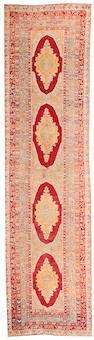 An Oushak runner West Anatolia, Size approximately 3ft 2in x 11ft 9in