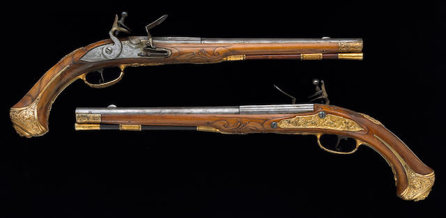 A fine pair of flintlock holster pistols