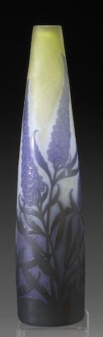 A Gallé overlaid and etched glass vase