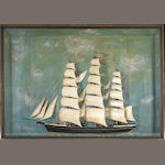An American painted wood ship model in shadow box