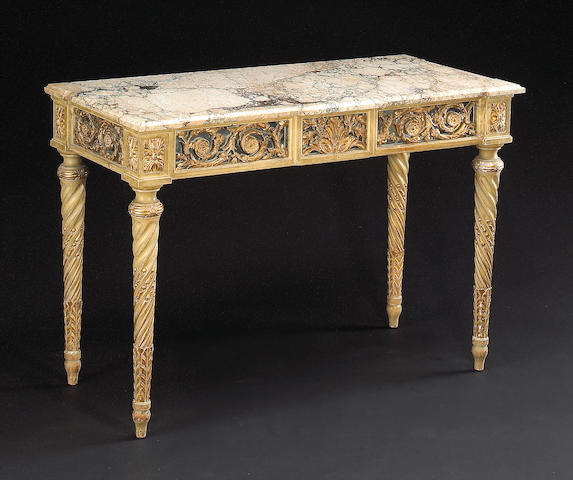 A Louis XVI style painted and parcel gilt console table