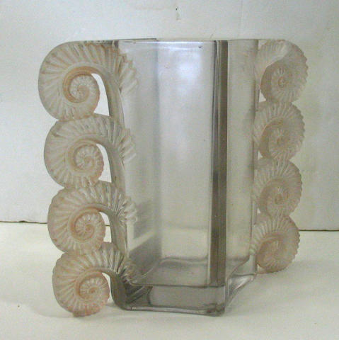 A Lalique style tinted glass vase in the 'Amiens' pattern