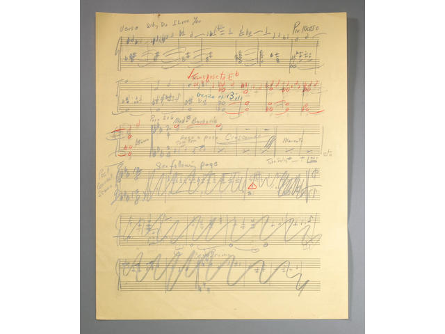 "18 pp Sam of Jerome, Kern and Arranger, Bible for 1941 Orchestral Arrangement of ""Showboat"""