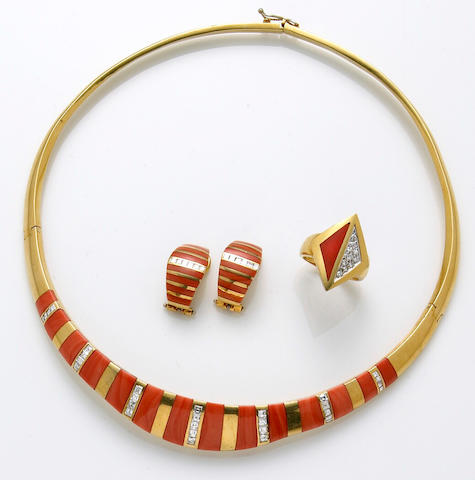 A suite of coral, diamond and eighteen karat gold jewelry