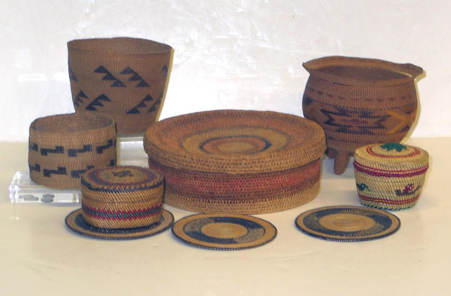 Nine basketry items