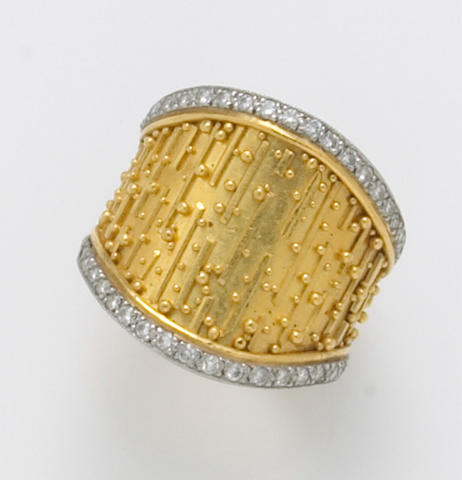 A diamond, twenty-two karat gold and platinum ring, Alix