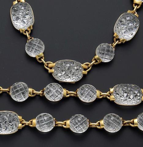 A suite of rock crystal quartz and eighteen karat gold jewelry