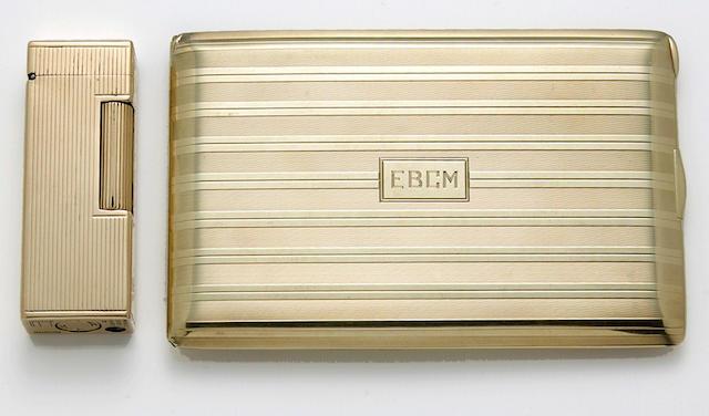 A fourteen karat gold cigarette case and lighter, Cartier and Dunhill