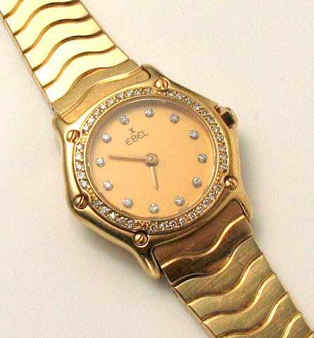 A lady's Ebel, Swiss gold and diamond integral bracelet wristwatch,
