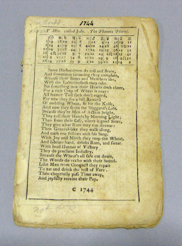 POOR RICHARD'S ALMANACK. Unbound, 1744 fragment of Almanack - not PR.