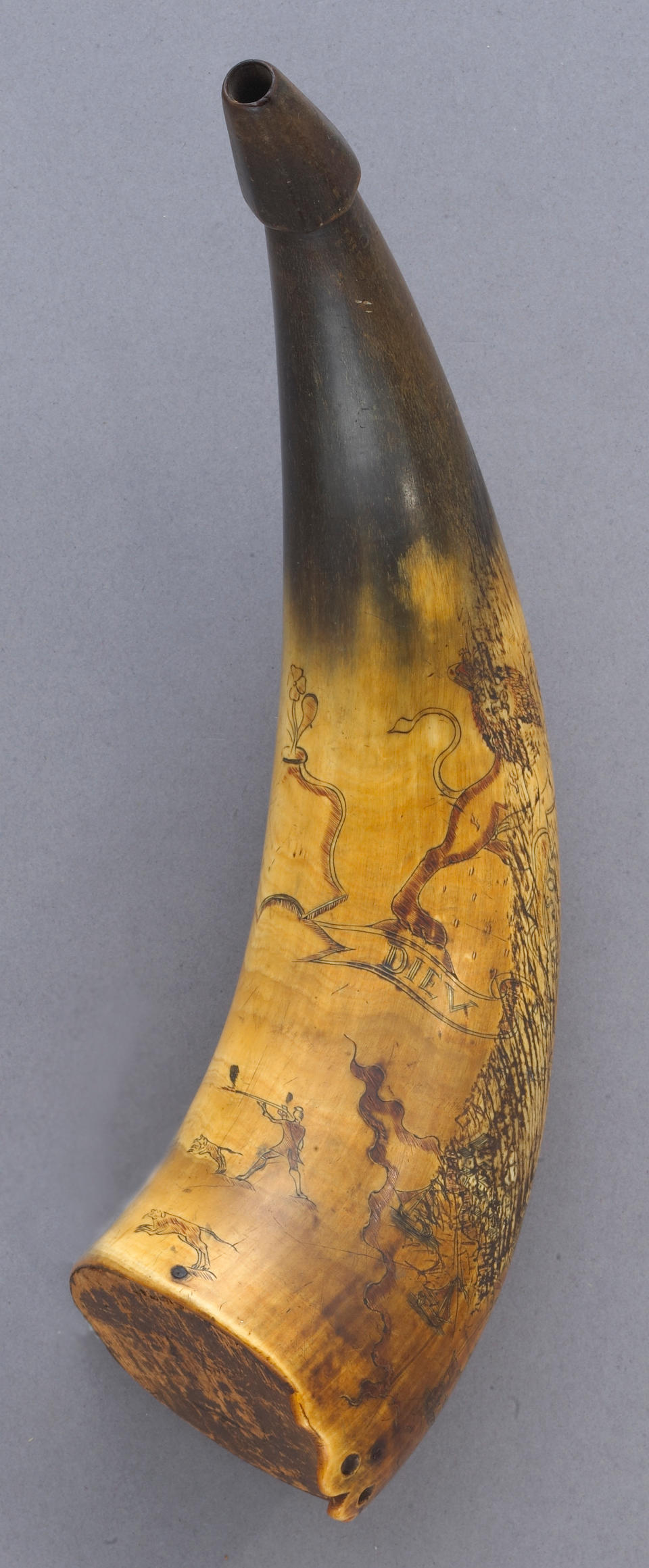 A fine incised French and Indian War era powder horn