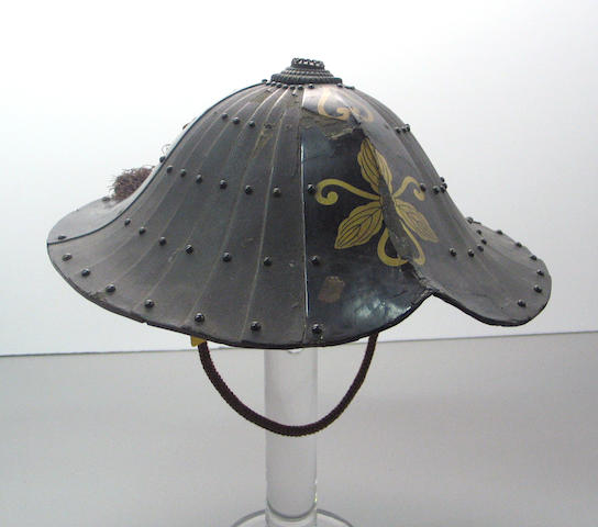 A Japanese war hat, <i>jingasa</i>