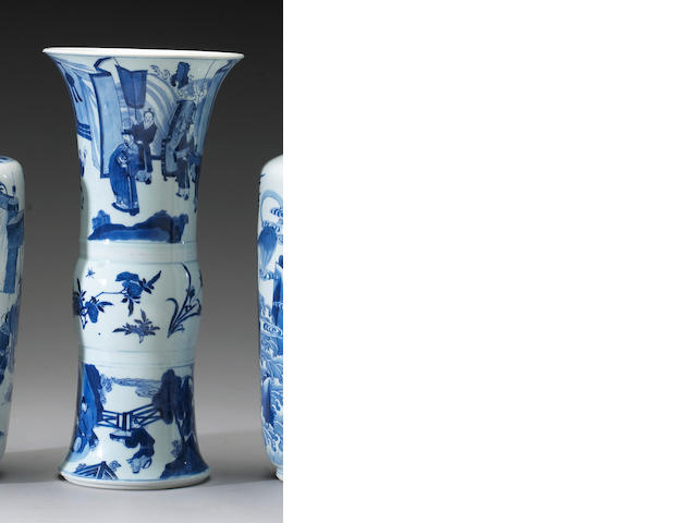 A blue and white porcelain beaker vase <i>Kangxi Period</i>