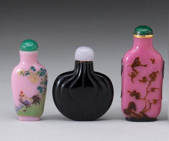 Three Peking glass snuff bottles