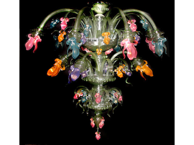 A large Murano glass floriform chandelier