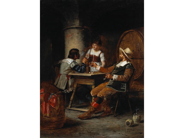 Alois Binder (German 1857-?) In the cellar 25 1/2 x 19 1/2in