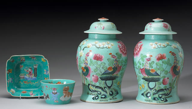 Four turquoise ground porcelain vessels, including two polychrome enamel vessels, one decorated with