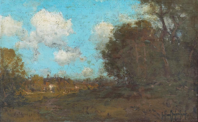 Framed oil board, signed julian onderdonk