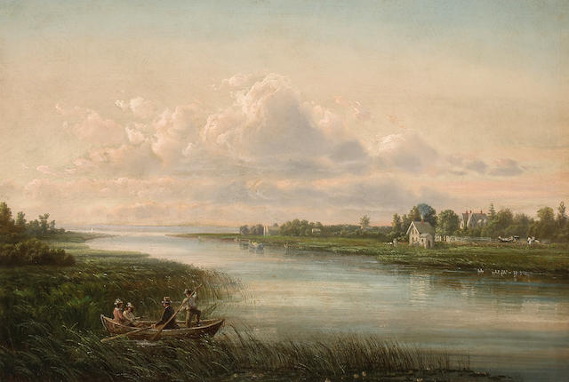Ferdinand Reichardt, River Scene with House, oil on canvas