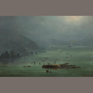 Ferdinand Reichardt, Fog Scene on the Saint Lawrence, New York State, oil on canvas