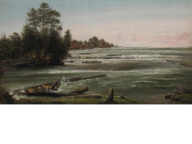 Ferdinand Reichardt, Rapids on the Niagra River, oil on canvas