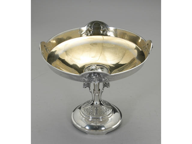Coin Silver Medallion Large Compote by Wood & Hughes