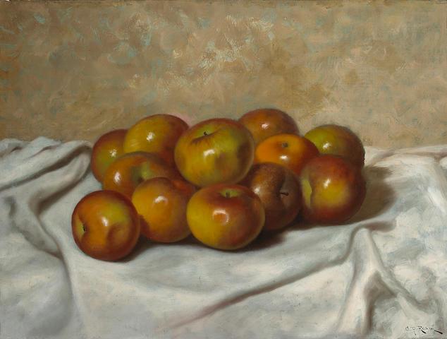 Carducius Plantagenet Ream (1837-1917) Apples on a White Drape 18 x 24 inches