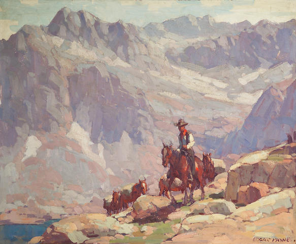 Edgar Payne (1883-1947) A Lone Rider Leading Pack Horses by a Sierra Lake 28 x 34in