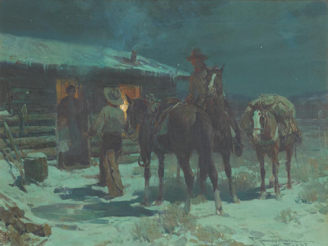 Frank Tenney Johnson (1874-1939) Home for Christmas, 1927 18 x 24 inches