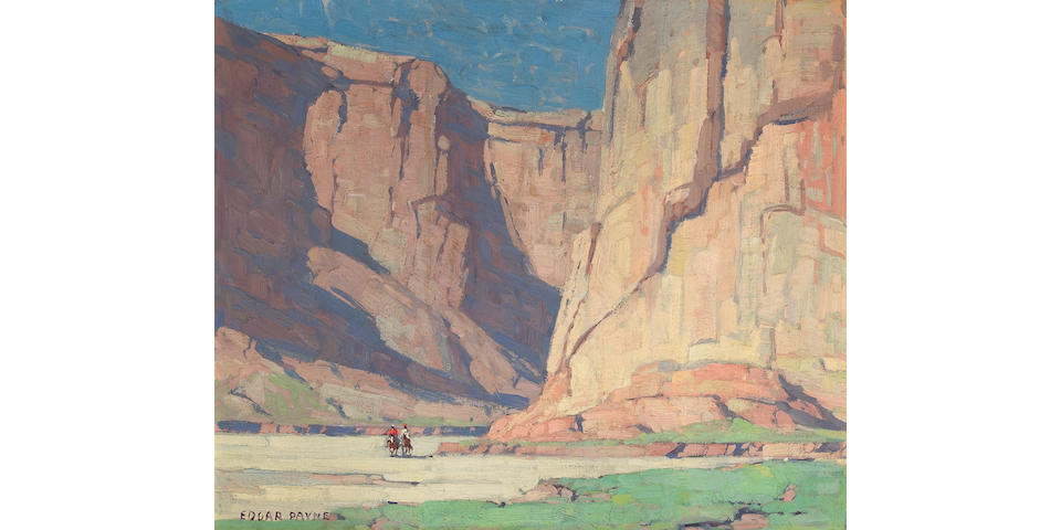 Edgar Payne (1883-1947) Riders in the Canyon de Chelly, Arizona 20 x 24in