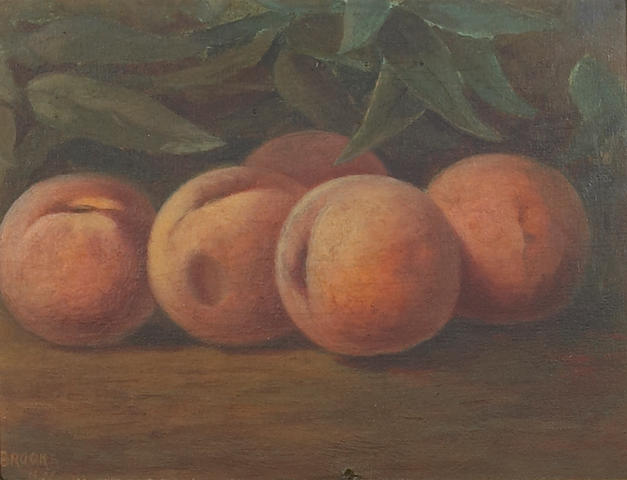 Nicholas Alden Brooks (1840-1904) A Still Life with Peaches 6 x 8 3/4in