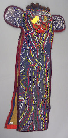 A Bamileke beaded cloth elephant mask