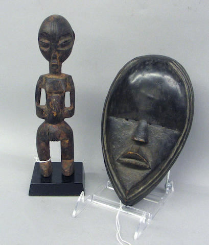 Two African items: female figure, mask