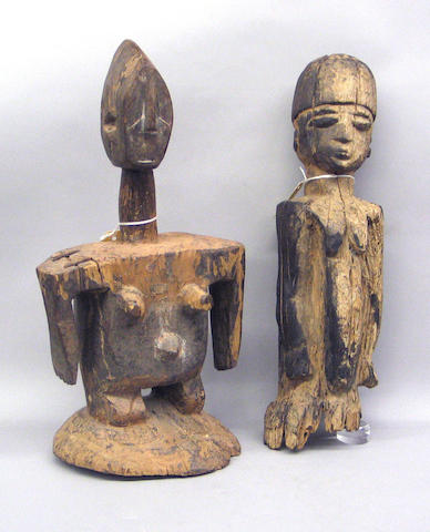 Two African female figures: Lobi, Idoma