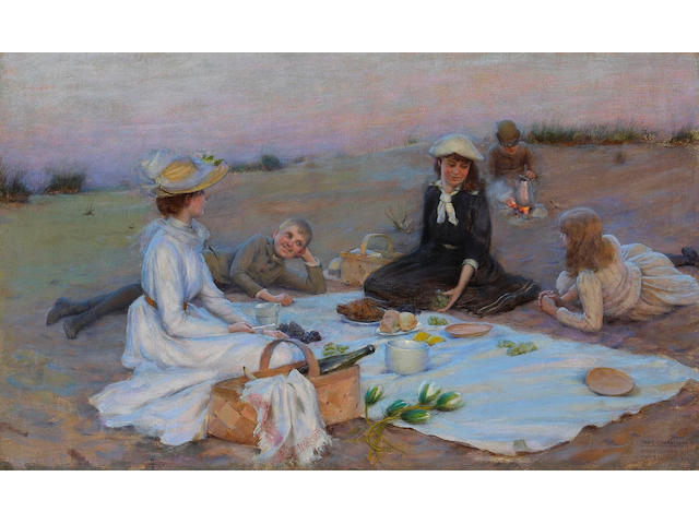Charles Courtney Curran (1861-1942) Picnic Supper on the Sand Dunes, 1890 12 x 20in