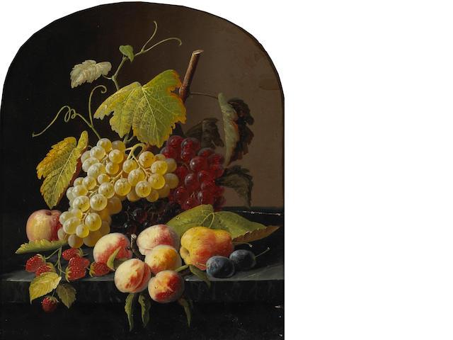 Severin Roesen and Studio (1815-1872) A Still Life with Grapes, Peaches and other Fruit on a Ledge 14 1/4 x 12 1/4in