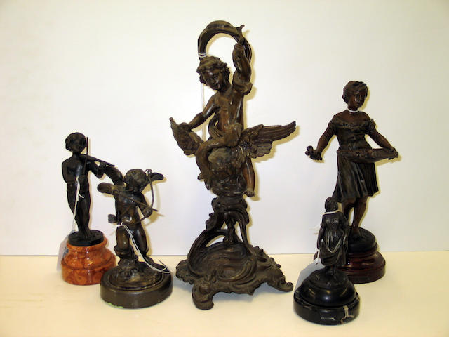 "An assembled group of six patinated metal figures, including one after Moreau, one titled ""Les Roses,"" cupid, a fiddler, etc"