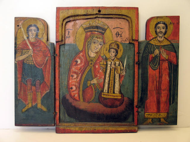 An assembled group of six religious wall hangings