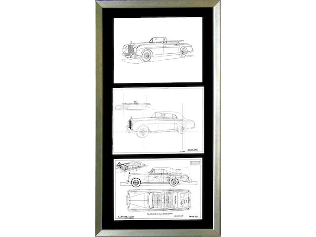 "A collection of three Roll-Royce Silver Cloud drop-head coupe blueprints by H.J. Mulliner & Co., Ltd., London. 18"" x 13"" in each ;"