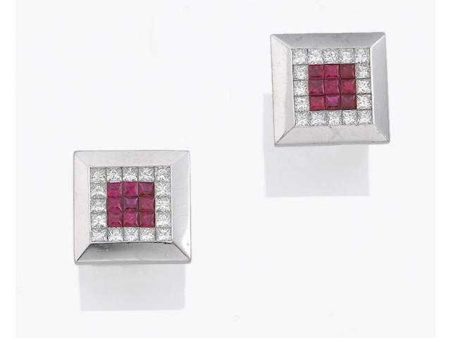 A pair of ruby, diamond and platinum cufflinks