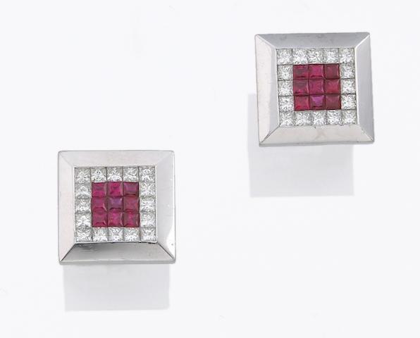 A pair of ruby, diamond and platinum cufflinks