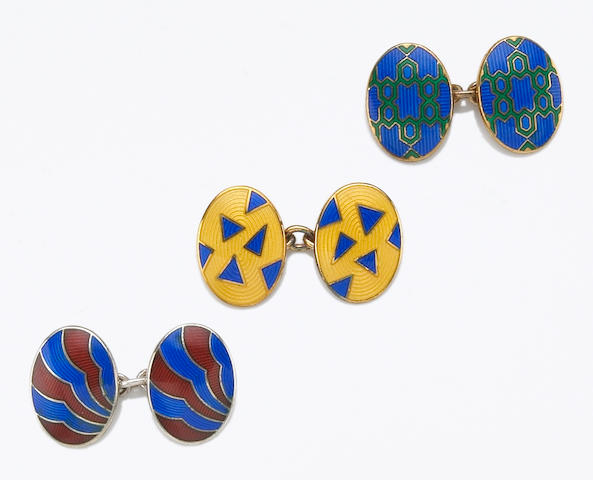 Three pairs of enamel, silver and gilt silver cufflinks, Deakin & Francis