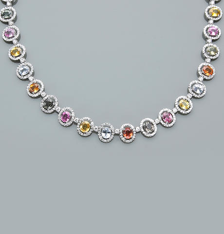 A multi-colored sapphire, diamond and eighteen karat white gold necklace